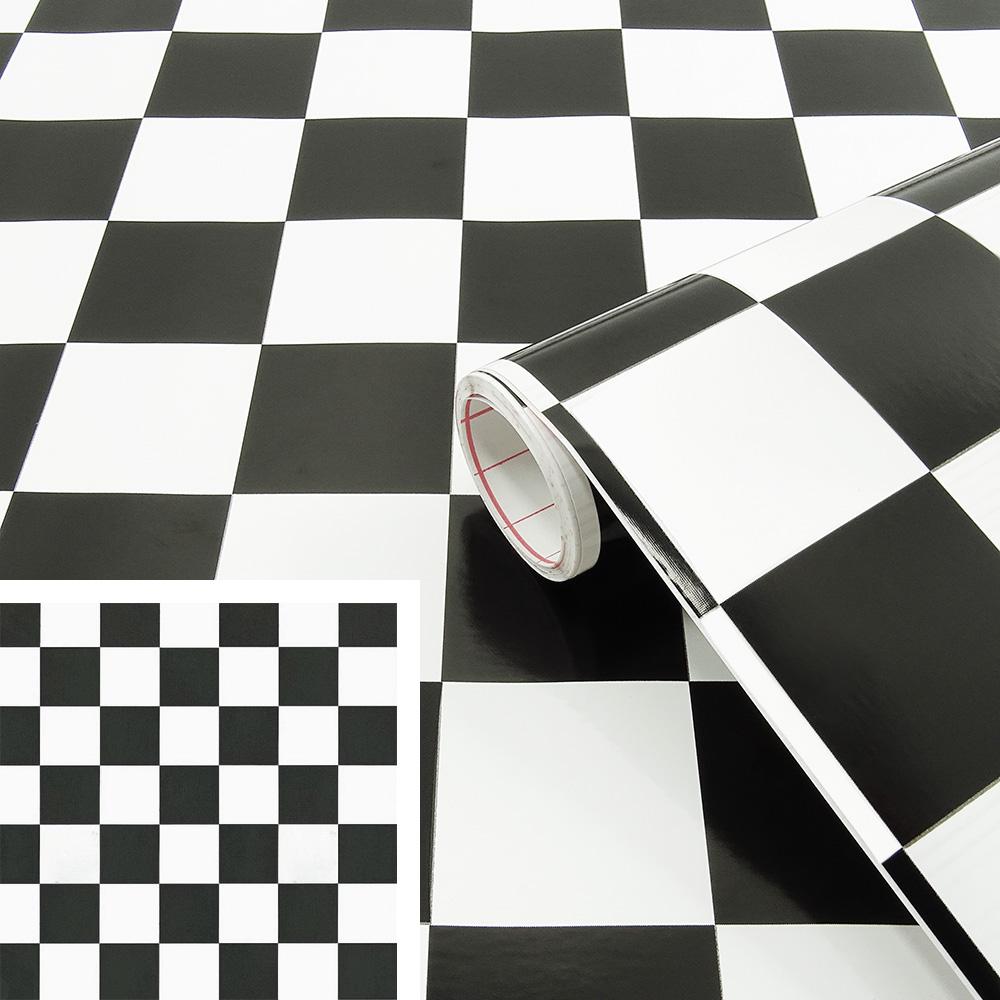 Rouleau Adhesif Deco Damier Carreaux Noirs Et Blancs